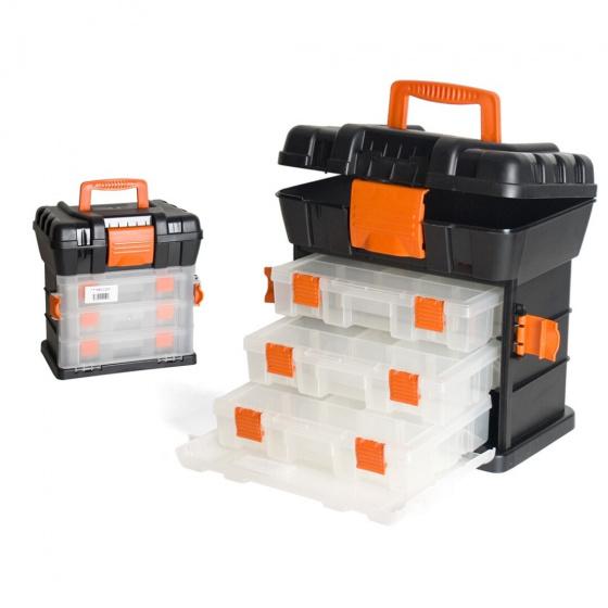 Gerimport gereedschapskoffer 34 x 24 x 34 cm zwart/oranje