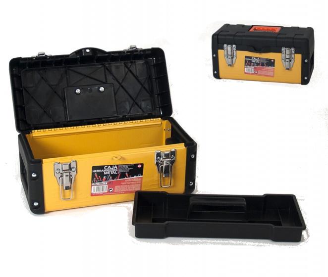 Gerimport gereedschapskoffer 36 x 18 x 18 cm metaal geel