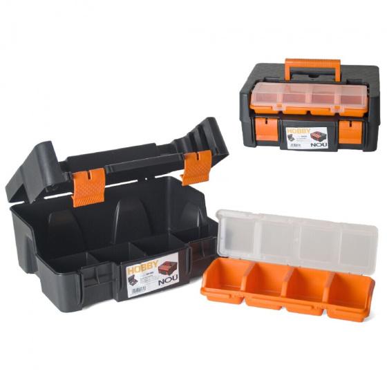 Gerimport gereedschapskoffer 38 x 29 x 17 cm zwart/oranje