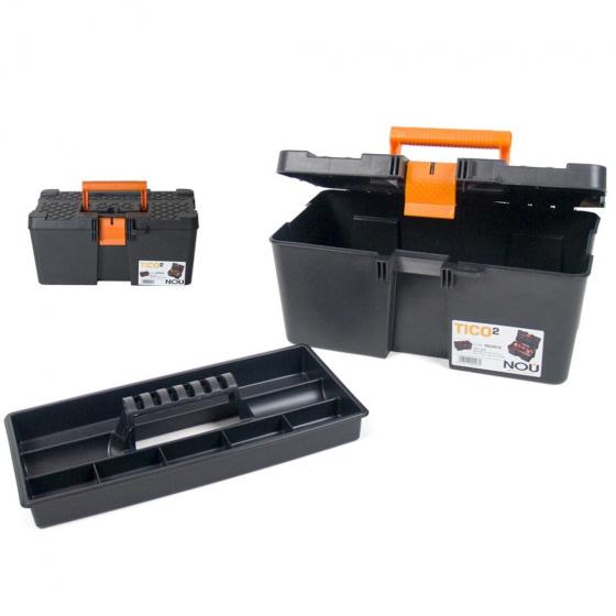 Gerimport gereedschapskoffer 40 x 25 x 18 cm kunststof zwart
