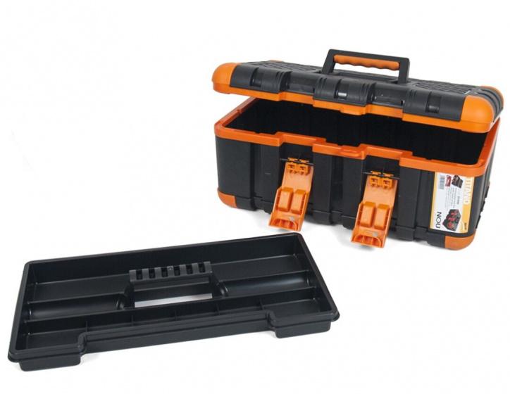 Korting Gerimport Gereedschapskoffer 50 X 28 X 23 Cm Zwart oranje