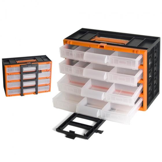 Gerimport gereedschapskoffer organizer 31 x 16 x 22 cm zwart