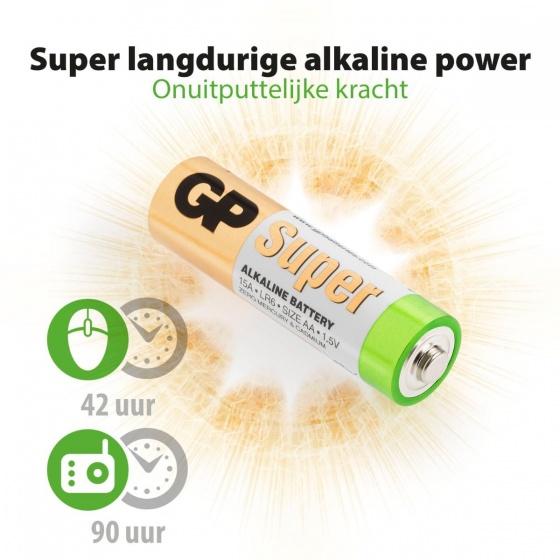 GP Super Alkaline AA batterijen LR06 16 stuks