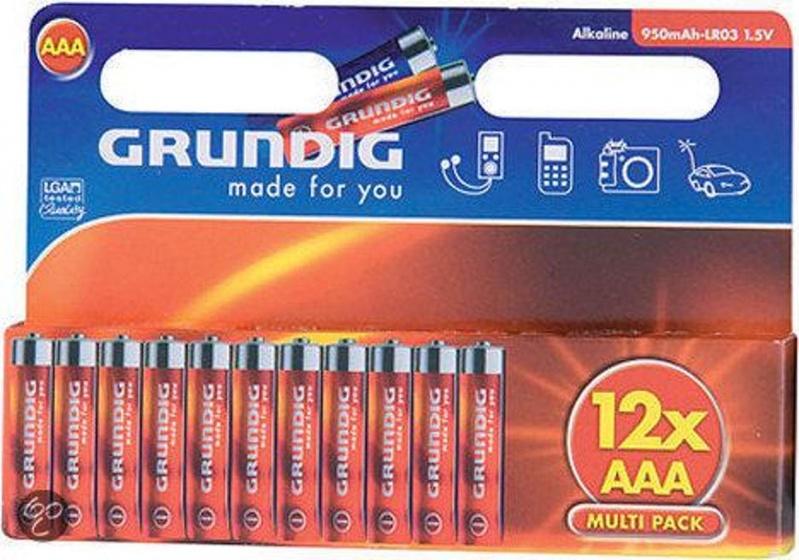 Grundig batterijen alkaline LR3 AAA 12 stuks
