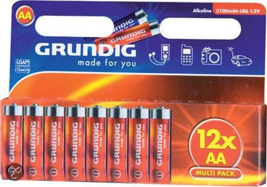 Grundig batterijen alkaline LR6 AA 12 stuks