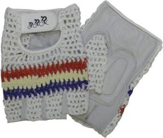 HZB fietshandschoenen Crochet leer/gel wit/blauw/rood maat S