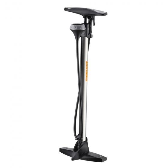 IceToolz fietspomp met manometer staal zwart/zilver
