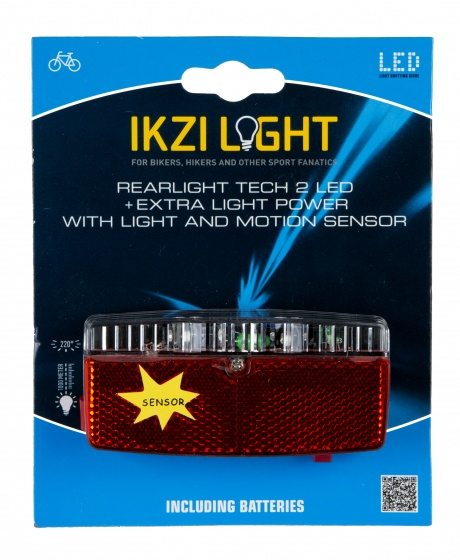 Ikzi Light achterlicht Tech led batterijen 10 cm rood