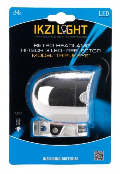 Ikzi Light koplamp Retro Triple Eye led batterij 65 mm chroom