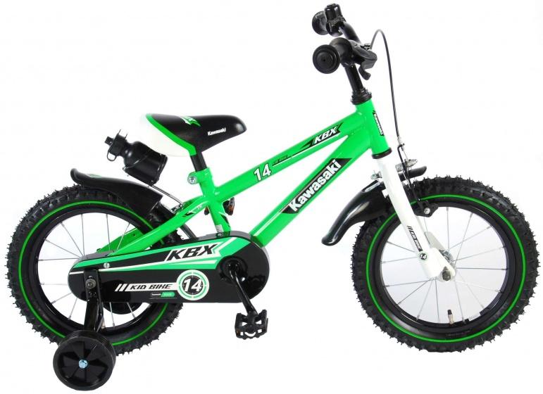 Kawasaki kinderfiets 14 Inch 23,5 cm Jongens Terugtraprem Groen