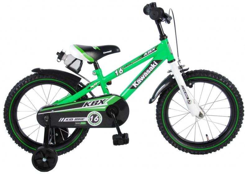 Kawasaki - Kinderfiets 16 Inch 25,4 Cm Jongens Terugtraprem Groen