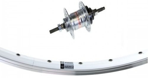 KGS achterwiel 28 inch Rollerbrake aluminium zilver