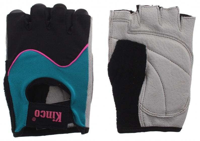 Kinco fietshandschoenen Modern zwart/turquoise maat 6