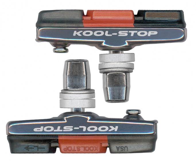 Kool Stop remblokken Cross V brake 54,5 x 7,5 mm zw/or/gr 2 stuks