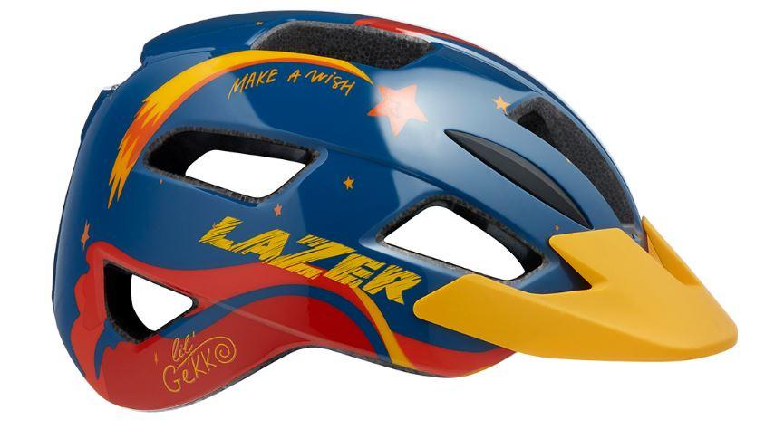 Lazer fietshelm Lil Gekko Star junior 46 50 cm blauw/geel/rood