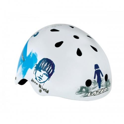 Lazer Helm One Trashy Wit Blauw Glossy Maat XS S