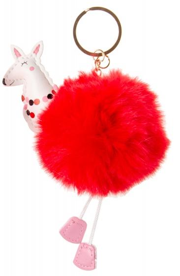 LG Imports sleutelhanger fluffy alpaca rood 8 cm