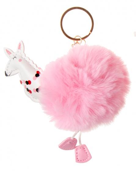 LG Imports sleutelhanger fluffy alpaca roze 8 cm