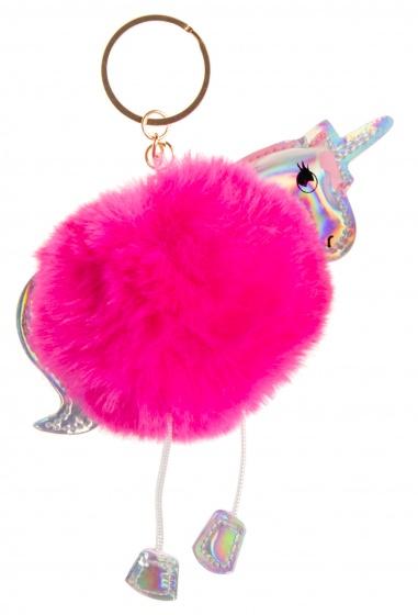 LG Imports sleutelhanger fluffy eenhoorn donkerroze 8 cm