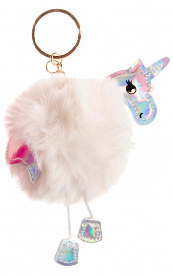 LG Imports sleutelhanger fluffy eenhoorn wit 8 cm
