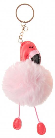 LG Imports sleutelhanger fluffy flamingo roze 8 cm