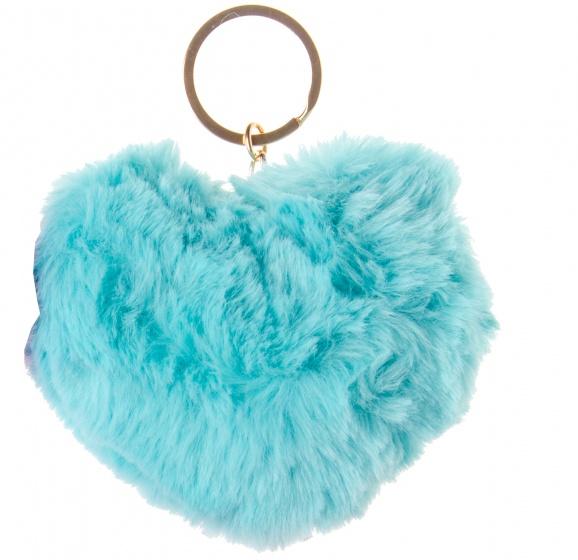 LG Imports sleutelhanger fluffy hart blauw
