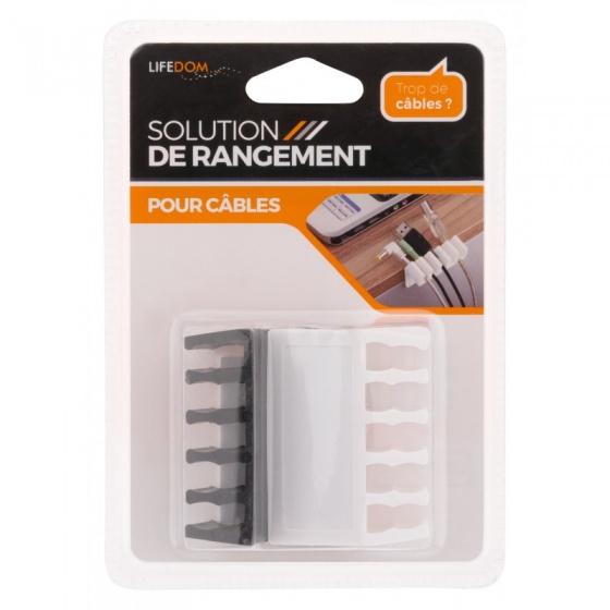 Lifedom kabelhouder voor 5 kabels wit/zwart 2 stuks