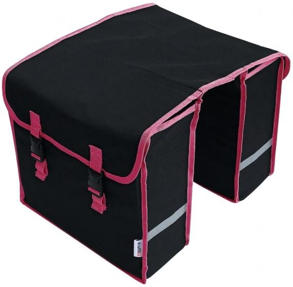 Lynx dubbele fietstas polyester zwart/roze 32 liter