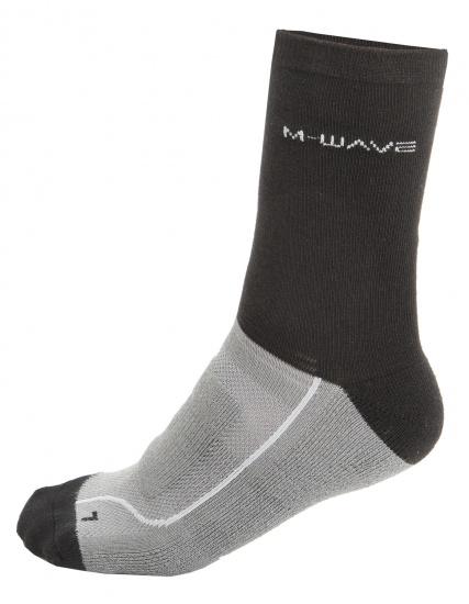 M Wave fietssokken unisex zwart/grijs maat 39 42