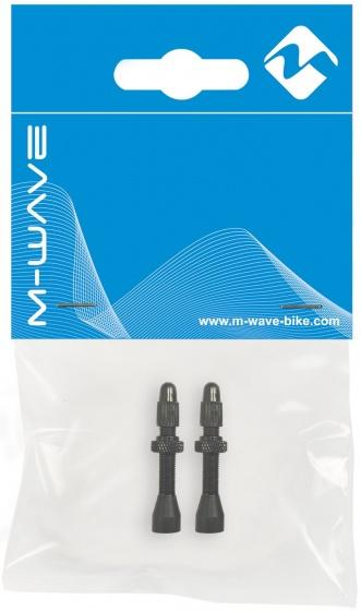 M Wave tubeless ventiel met bovenmoer 36 mm FV zwart 2 stuks