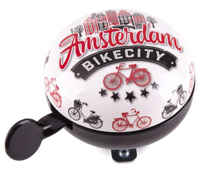 Matix fietsbel Amsterdam Bike City 80 mm staal zwart/wit