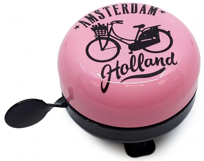 Matix fietsbel Amsterdam Holland 58 mm staal roze/zwart
