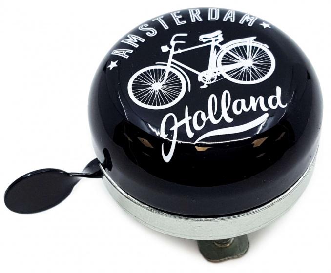 Matix fietsbel Amsterdam Holland 58 mm staal zilver/zwart
