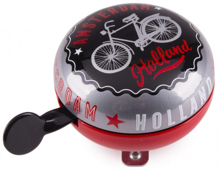 Matix fietsbel Amsterdam Holland 80 mm staal zwart/rood