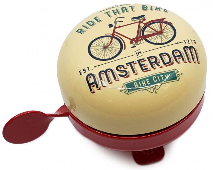 Matix fietsbel Amsterdam Ride That Bike 58 mm staal cr�me/rood