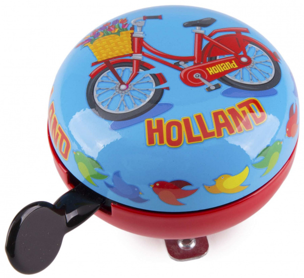 Matix fietsbel Hollandse fiets 80 mm staal blauw/rood