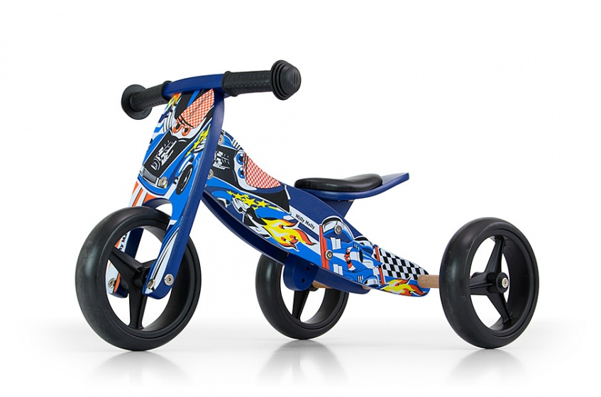 Milly Mally 2 in 1 loopfiets Jake Cars Junior Blauw