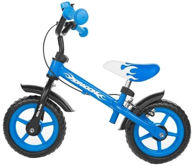 Milly Mally loopfiets Dragon 10 Inch Junior Knijprem Blauw