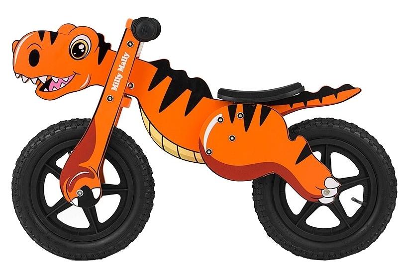 Milly Mally loopfiets Wooden Dino 12 Inch Junior Oranje