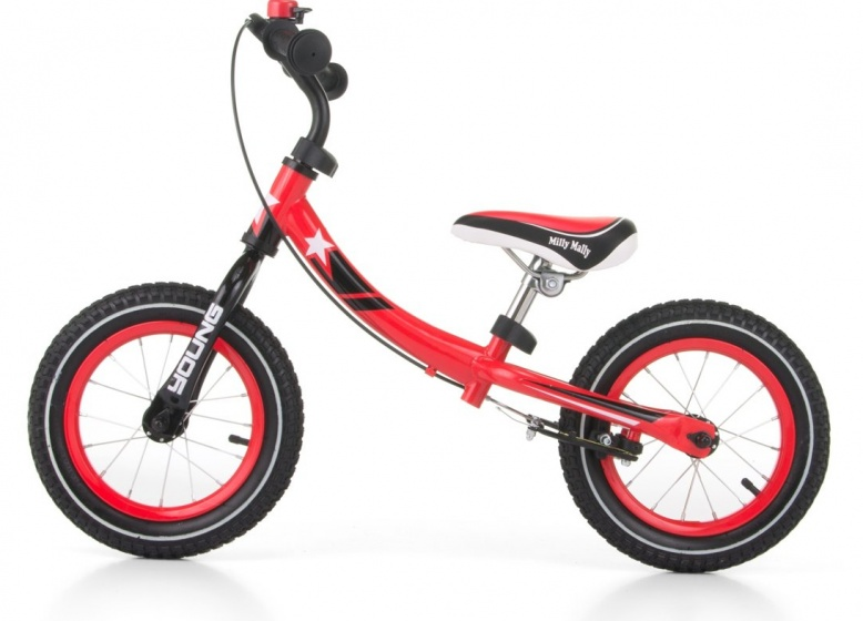 Milly Mally loopfiets Young 12 Inch 56 cm Junior Knijprem Rood