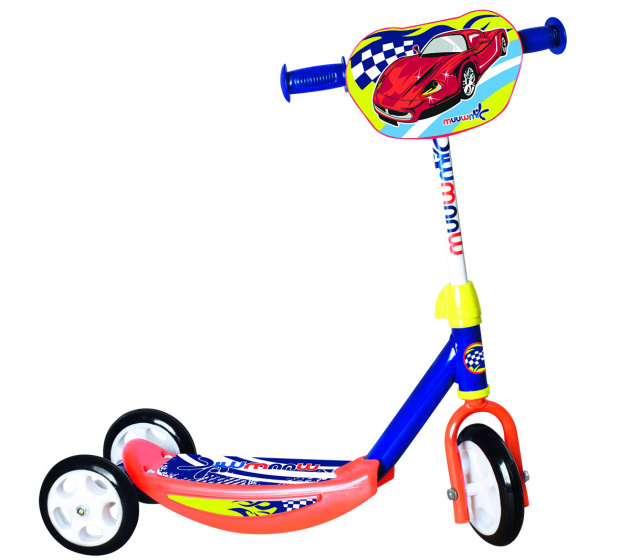 Muuwmi 3 wiel kinderstep Racing Junior Voetrem Oranje/Blauw