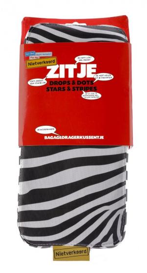 Niet Verkeerd bagagedragerkussen zebra 32 x 15 cm PVC zwart/wit