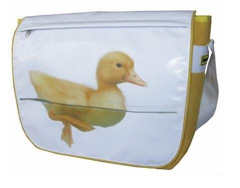 Niet Verkeerd schoudertas eend 10 liter wit/geel
