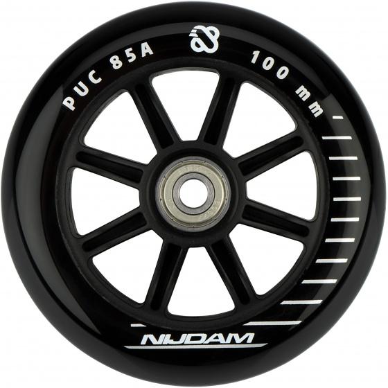 Nijdam wielen stuntstep 85A 10 x 2,4 cm PU/PP zwart 2 stuks