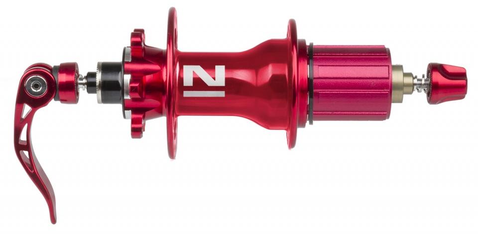 Novatec achternaaf 4 in 1 schijfrem 32 gaats aluminium rood