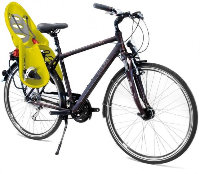 OK Baby fietszitje achter Eggy geel/grijs
