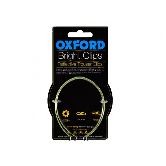 Oxford broekclips reflecterend staal geel one size 2 stuks