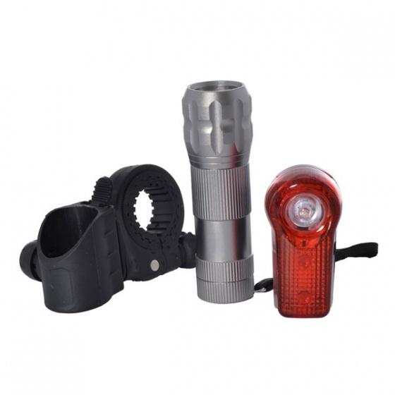 OXC verlichtingsset UltraTorch 9 led batterijen zilver/rood