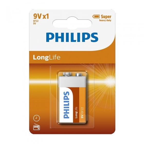 Philips batterij 6F22 longlife 9V per stuk