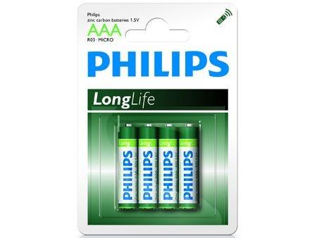 Philips batterijen LRO3 longlife 1.5V AAA per 4 stuks